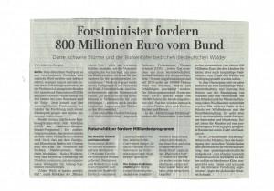Forstminister fordern Hilfe vom Staat für deutsche Wälder